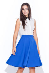 Deep Blue Swirly Panel Skirt with Side Zip Fastening
