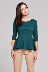 Green Seam Top with Frilled Hemline and Elbow Length Sleeves
