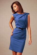 Blue Back Slit Shift Dress with Contrast Waist Belt