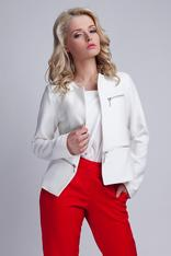 Modern White Collarless Open Blazer