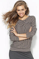 Grey and Navy blue Striped Casual Blouse with 3/4 Sleeves