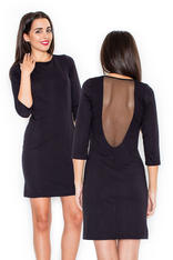 Slim Fit Elegant Black Dress Sheer Back Mesh