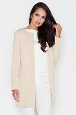 Beige Collarless Front Open Long Coat For Women