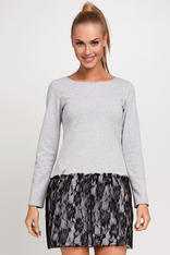 Gray Casual Knitted Dress With Black Lace Over Skirt