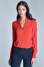 Orange seam shirt with loop button neckline