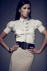 Cream Collared Blouse with Bow Details and Pleated Cap Sleeves