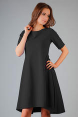 Black High Fad Dress with Dipped Hem