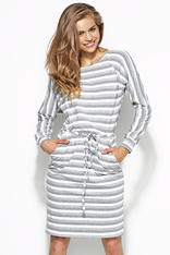 Grey and White Striped Shirt Dress with Draw String Waist