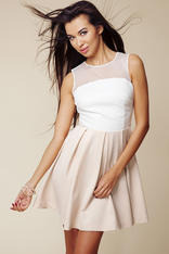 Off White / Beige Sheer Lace Top Pleated Skirt Dress