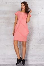 Pink Sporty Tunic Dress with Front Pocket