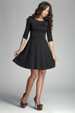 Black Giggly Fashion Flared Skirt Dress