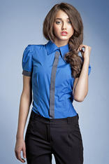 Pleated Puffed Shoulder Collared Blue Shirt with Contrast Trim