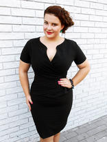 Wrap Around Self Belted Sheath Black Dress Plus Size