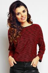 Maroon flecked blouse with slouchy shoulders