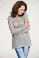 Grey pull over sweater with lace knit