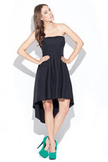 Black Asymmetrical Pleated Bandeau Dress