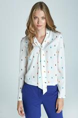 Chic Printed Blouse With Sash