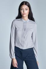 Grey formal blouse with pleated front