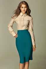 Azure Tea-Length Pencil Skirt