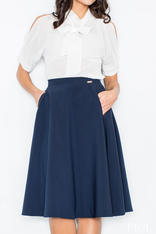 Blue Midi Length Pleated Skirt with Petite Belt