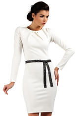 White Pleated Neckline Shift Dress with Belt