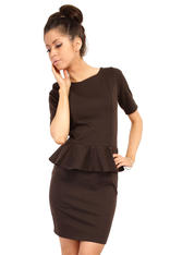 Brown Bateau Neck Shift Dress with Frilled Bodice