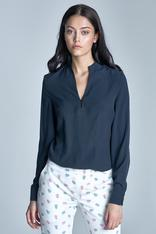 Dark blue seam shirt with loop button neckline