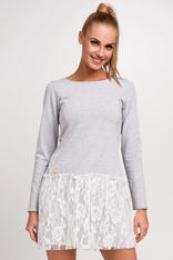 Light Grey Casual Knitted Dress With White Lace Over Skirt