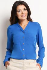 V-Neckline Button-Down Blue Shirt
