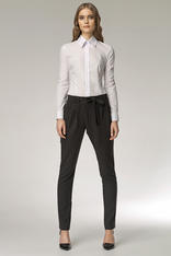 Drop Crotch Black  Pants with Asymmetrical Bow Fastening