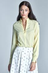 Yellow seam shirt with loop button neckline