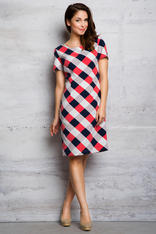 Pink Checkered Board Pattern Classic Dress