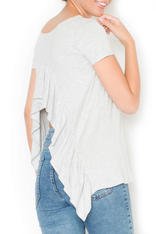 Light Grey Asymmetrical T-Shirt Blouse with Slit Waterfall Back