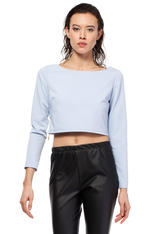 Light Blue Cropped Blouse with Bateau Neckline and Side Zipper
