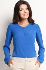 Blue Shirt with Keyhole Back Neckline