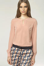 Stringed Keyhole Neckline Pink Blouse with Long Sleeves