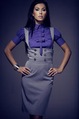 High Waisted Suspender Grey Skirt with Button Details