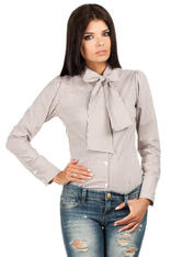 Brown Pussy Bow Collar Pinstripe Girly Shirt
