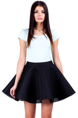 Black Skater Skirt with Umbrella Hemline