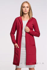 Dressy Red Cardigan With Side Pockets
