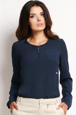 Dark Blue Shirt with Keyhole Back Neckline