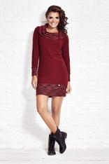 Crimson Shift Dress with Flecked Cowl Neck