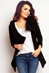 Black wrap around hoodie with contrast trim