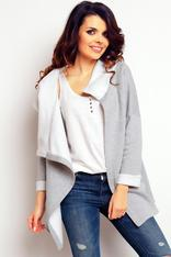 Grey wrap around hoodie with contrast trim