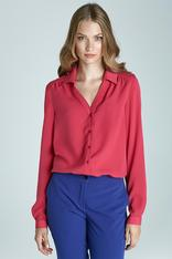 Fuchsia Blouse with Cuffed Long Sleeves