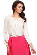 Beige Cut Out Bow tie Blouse with Long Sleeves