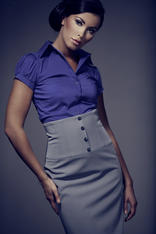 Dark Purple Collared Blouse with Pleated Cap Sleeves
