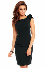 Black Seam Shift Dress with Bateau Neckline and Flower Shoulder