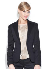 Petite Peak Collar Black Blazer with Single Button Fastening
