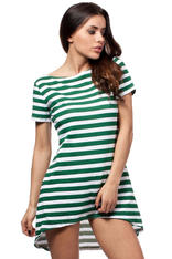 Green Bateau Neck Striped Dippy Hemline Shift Dress
